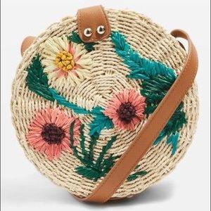 Topshop Floral Crossbody Straw Bag